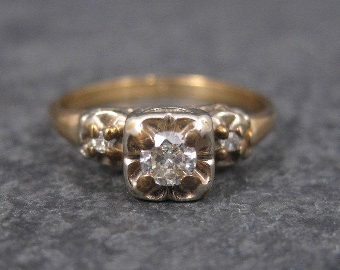 Dainty Vintage 14K Diamond Engagement Ring Size 5.5
