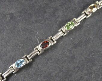 Vintage 90s Peridot Citrine Amethyst Topaz Garnet Bracelet 7 Inches