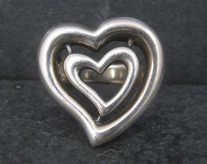 Chunky 2008 Sterling Heart Ring Size 8