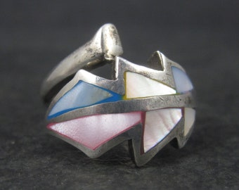 Vintage Sterling Mother of Pearl Wrap Around Feather Ring Size 8.5