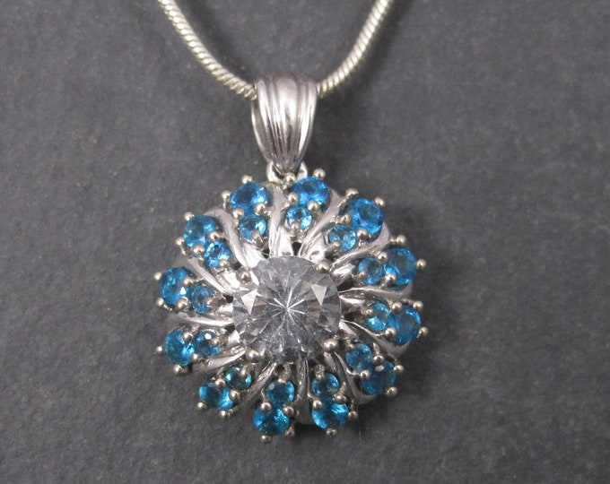 Vintage 10K Aquamarine Apatite Pendant Necklace