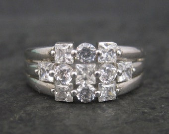 Vintage Sterling Cubic Zirconia Cluster Ring Size 9