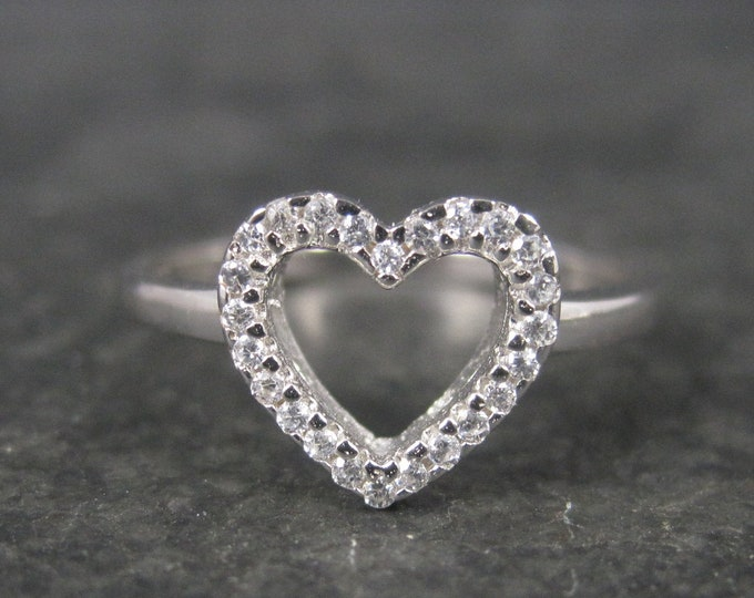 Dainty Sterling Diamond Heart Ring size 7