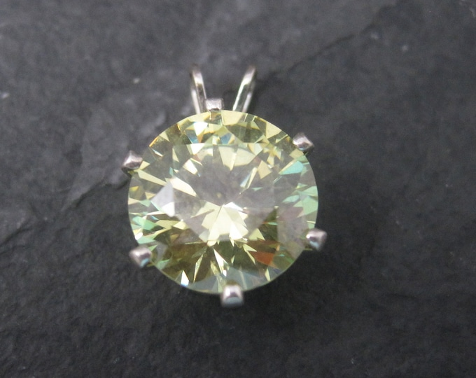 Simple Vintage Sterling Yellow Cubic Zirconia Solitaire Pendant