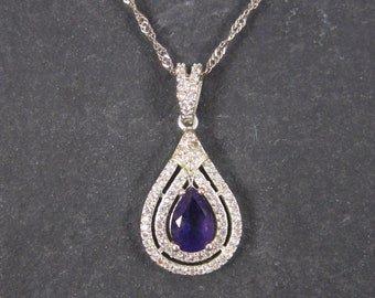 Vintage White Gold Plated Amethyst Pendant Necklace