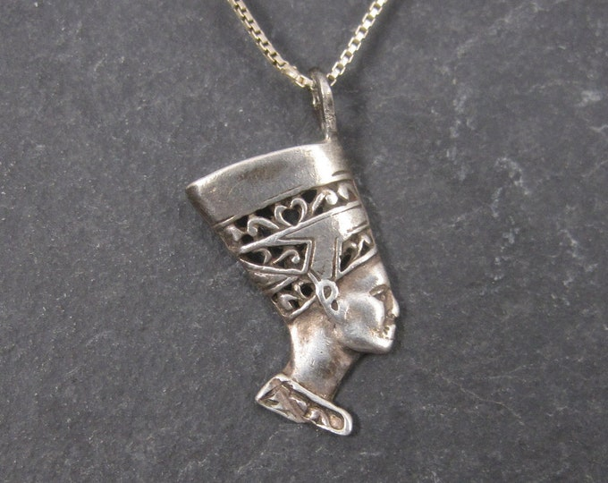 Vintage Sterling Egyptian Nefertiti Pendant Necklace