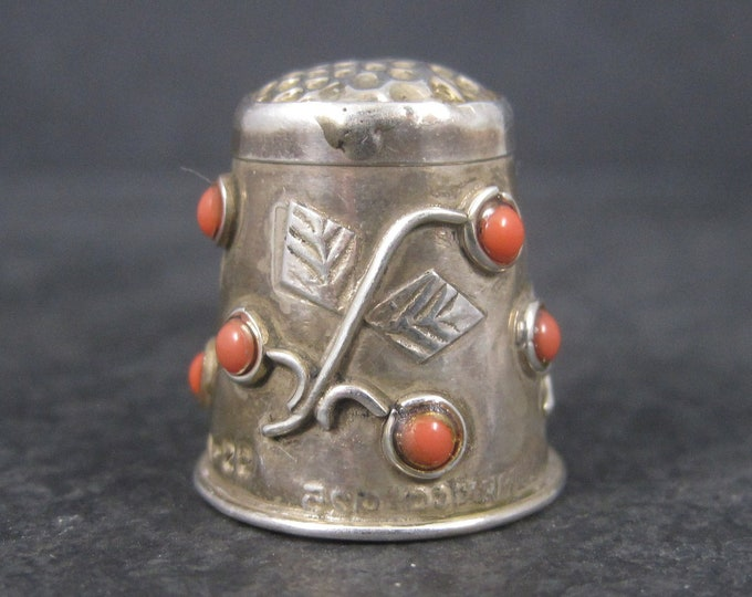 Vintage Mexican Sterling Coral Thimble