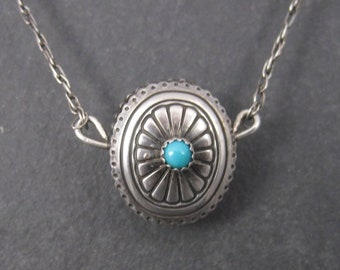 Vintage Southwestern Sterling Reversible Turquoise Coral Pendant Necklace