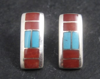 Vintage Southwestern Sterling Coral Turquoise Inlay Earrings