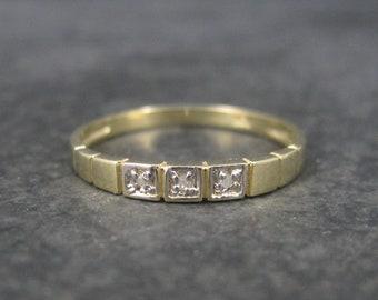 Dainty Vintage 10K Diamond Wedding Band Ring