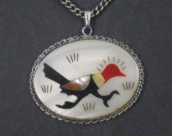 Vintage Southwestern Inlaid Roadrunner Pendant Necklace