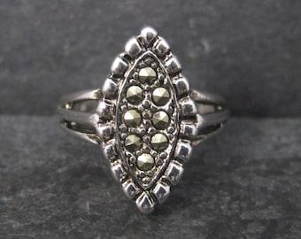 Vintage 18K GE Marcasite Ring Size 6