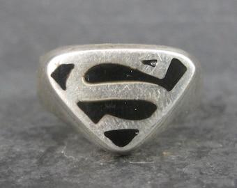 Vintage Sterling Superman Ring Size 13