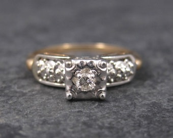 Dainty Vintage 14K Diamond Engagement Ring Size 6.75