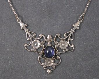 Vintage Sterling Art Nouveau Style Iolite Necklace