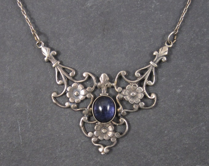 Vintage Sterling Art Nouveau Style Iolite Necklace