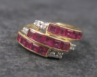 Vintage 14K Princess Cut Ruby and Diamond Ring Size 5.5