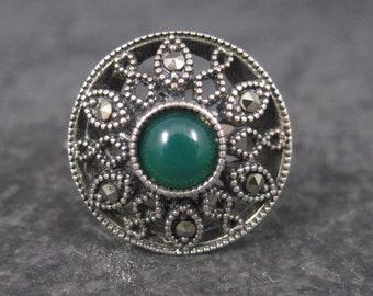 Vintage Sterling Green Enamel Marcasite Ring Size 9