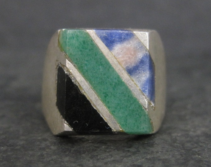 Vintage Mexican Sterling Sodalite Aventurine Onyx Ring Size 9.5