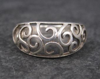 Vintage Sterling Filigree Ring Size 8