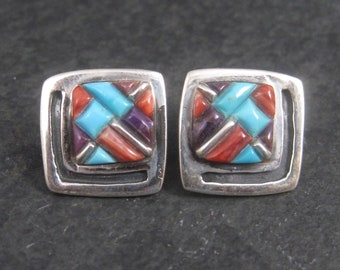Vintage Sterling Southwestern Turquoise Coral Sugilite Inlay Earrings