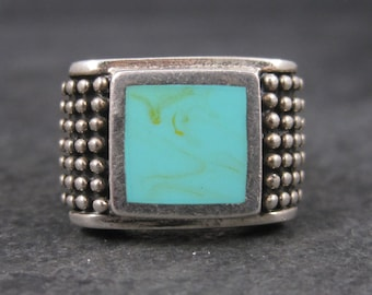 Vintage Sterling Faux Turquoise Ring Size 8