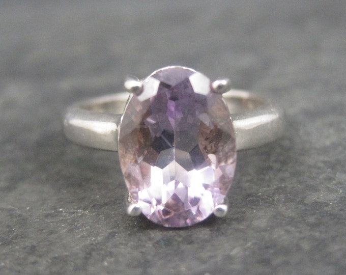 Vintage Sterling Amethyst Solitaire Ring Size 6.25