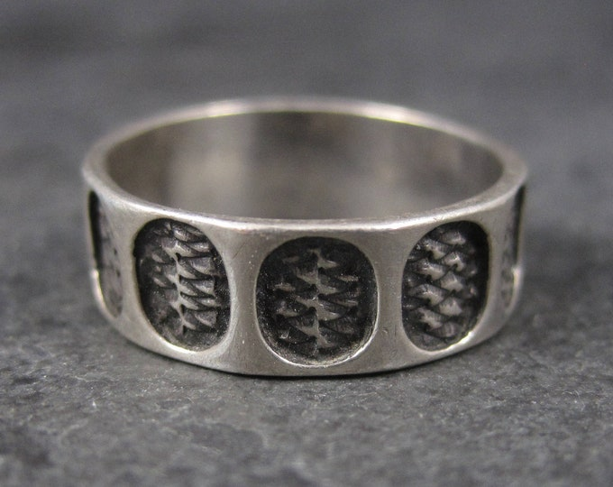 Vintage Sterling Tribal Band Ring Size 7.5