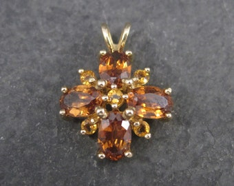 Vintage Mexican 14K Madeira Citrine Pendant