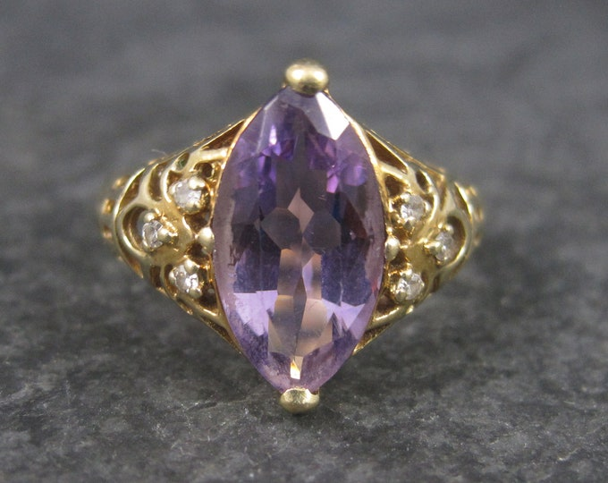 Vintage 14K Amethyst Diamond Ring Size 8 GIA Appraised