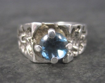 Vintage Sterling Nugget Topaz Ring Size 9