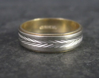 Vintage 14K Yellow and White Gold Wheat Style Wedding Band Ring Size 7.75