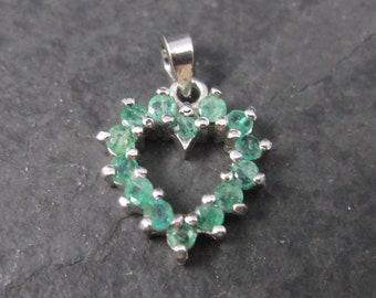Dainty Vintage Sterling Emerald Heart Pendant