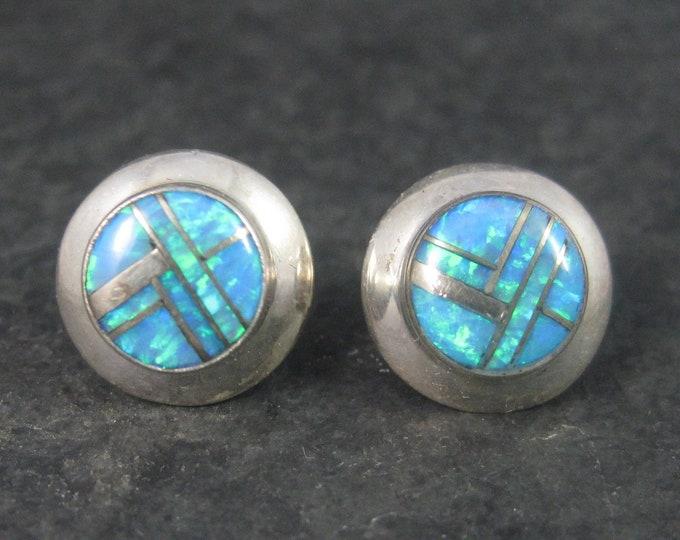 Vintage Southwestern Sterling Opal Inlay Stud Earrings