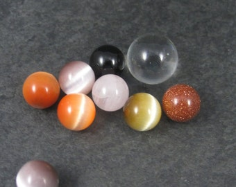 Lot of 9 Undrilled Gemstone Rock Crystal Catseye Spheres 10mm 14mm