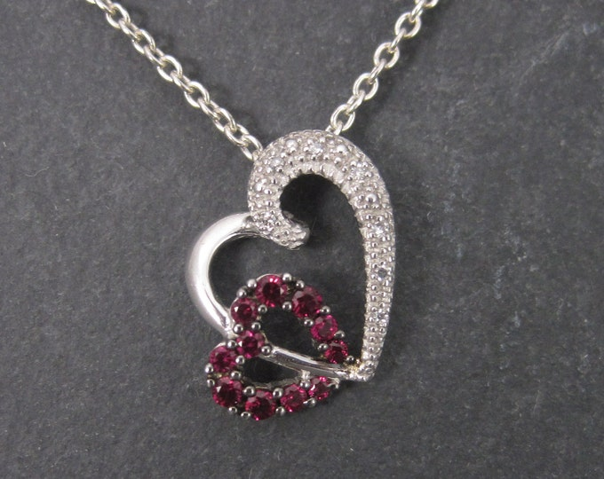 10K Pink Sapphire Diamond Heart Pendant
