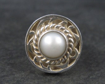 Heavy Vintage Sterling Pearl Ring Size 7