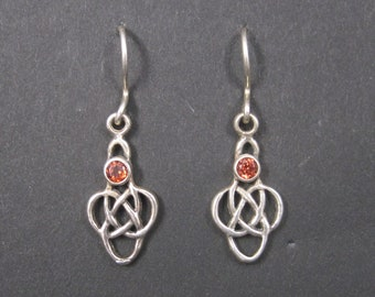 Vintage Sterling Celtic Garnet Earrings
