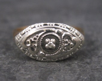 Antique 14K Two Tone Diamond Heart Ring Size 5.5