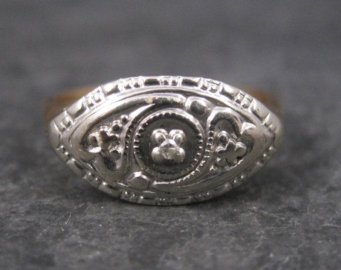 Antique 14K Two Tone Diamond Heart Ring Size 5.5