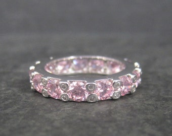 Vintage 90s Sterling Pink Ice Cubic Zirconia Band Ring Size 8