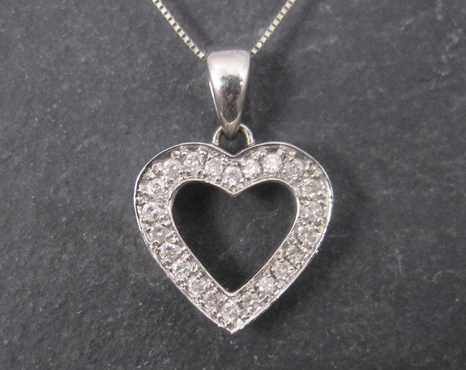 Vintage 14K White Gold .25 Carat Diamond Heart Pendant Necklace