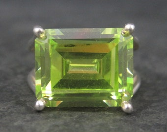 Large 90s Sterling Lime Green Cz Ring Size 7