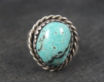 Classic Vintage Southwestern Turquoise Pinky Ring Size 4