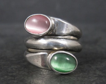 Heavy Vintage Sterling Pink and Green Cats Eye Ring Size 6.5
