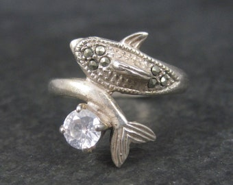 Vintage Sterling Cubic Zirconia Marcasite Dolphin Ring Size 9