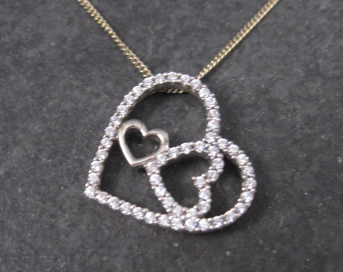 Vintage Sterling Cubic Zirconia Triple Heart Pendant