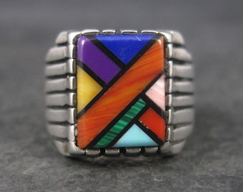Vintage Southwestern Sterling Inlay Ring Size 6