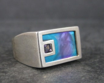 Mens Vintage Amethyst Illusion Ring Sterling Size 10
