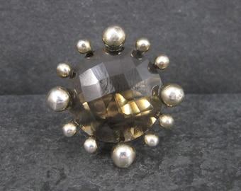 Vintage Atomic Starburst Smoky Topaz Ring Size 7
